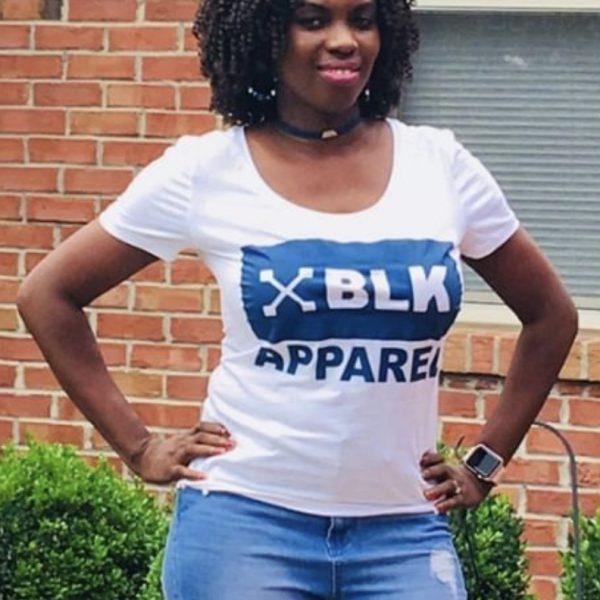 "Women's White ""XBLK APPAREL BLUE"" T-shirt"