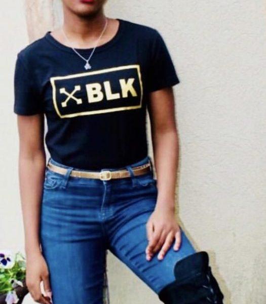 "Women's Black ""XBLK Gold Bordered"" T-shirt"