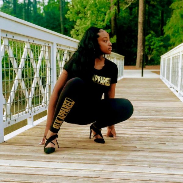 "Women's Black ""BLKAPPAREL"" Gold Leggings"