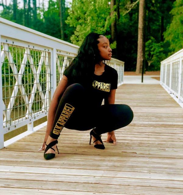"Women's Black ""BLKAPPAREL"" Gold Leggings"